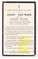 DP Henri Van Raes ° Geluwe Wervik 1848 † Wijtschate Heuvelland 1932 X Eug. DeVroe - Images Religieuses