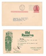USA Scott UX32 Phila Surcharge Illustrated Ad Old Reserve Health Tonic 1921 Postal Card - Postal History