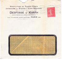 Semeuse 199 Sur Lettre Ets Desfossé & Karth De Paris à Chalon-sur-Saône (1932) - 1903-60 Säerin, Untergrund Schraffiert