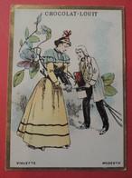 CHROMO.Chocolat LOUIT. Lith. Romanet. Symbole Des Fleurs. VIOLETTE.  MODESTIE - Old Paper