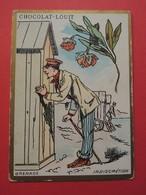 CHROMO.Chocolat LOUIT. Lith. Romanet. Symbole Des Fleurs. GRENADE.  INDISCRETION.  Cabine De Plage. - Old Paper