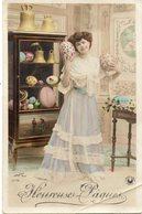 FEMME 714 : Heureuses Pâques  : édit. Croissant 3775  Walery Photo - Mujeres