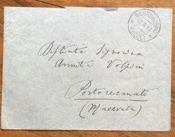 SERVIGLIANO ASCOLI Annullo Su Striscia Di Tre Del 5 C. LEONI BUSTA PER RECANATI IN DATA 12/8/12 - 1900-44 Vittorio Emanuele III