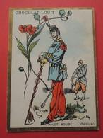 CHROMO.Chocolat LOUIT. Lith. Romanet. Symbole Des Fleurs.  PAVOT  ROUGE.  ORGUEIL.  Militaire.  Soldat - Old Paper