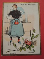 CHROMO.Chocolat LOUIT. Lith. Romanet. Symbole Des Fleurs. ROSE.  La  REINE. - Old Paper