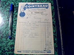 Facture Facturette  D Epicerie  G. Vénuat A Moulins  Annee 1940  Pub Cointreau - Alimentaire
