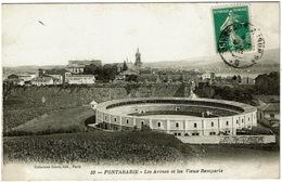 CPA Espagne. Fontarabie. Les Arènes Et Les Vieux Remparts. - Andere