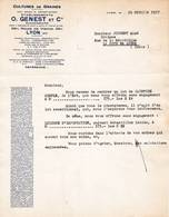69 LYON COURRIER 1937 Culture De Graines Ets GENEST Anc. Genest-BArge X8 - France