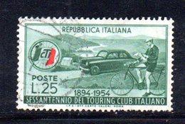 XP2629 - REPUBBLICA 1954 ,  N. 743 Touring : Rosso Spostato - 6. 1946-.. República