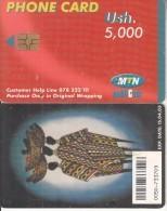 UGANDA(chip) - Painting, MTN Publicom Telecard Ush 5000, Chip GEM3.3, Exp.date 15/04/03, Used - Uganda