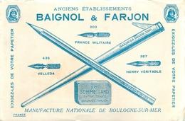Buvard Ancien MANUFACTURE BAIGNOL ET FARJON BOULOGNE SUR MER - Buvards, Protège-cahiers Illustrés