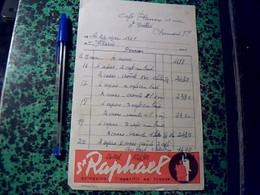 """Facture Facturette  DE Bistrot """" Cfé Planier A Clermont Ferrand """" Annee 1961 Pub St Raphael Quinquina - Alimentaire"""