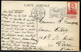 BELGIQUE - N° 111 / CPA AVEC O.M. DRAPEAU DE GAND OBL. GAND LE 19/8/1913 POUR LA FRANCE - TB - 1915-1920 Albert I