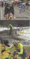 3  CARTES REBECCA  FAHRINGER   SIGNEE    CYCLO CROSS - Ciclismo