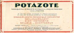 Buvard Ancien POTAZOTE - SOCIETE CHIMIQUE DE LA GRANDE PAROISSE - ENGRAIS - AZOTE - WAZIERS - Buvards, Protège-cahiers Illustrés