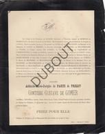 Doodsbrief Adélaïde-Marie-Josephe De PARTZ De PRESSY Comtesse Gustave De Gomer°1814 †1891 Chateau De Wolphus Calais(L71) - Overlijden