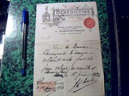 Facture Facturette D'epicerie Massillon J Champeyroux A Clermont Ferrand  Pub Benedictine  Annee 1921 Fiscal De 1 Franc - Alimentaire