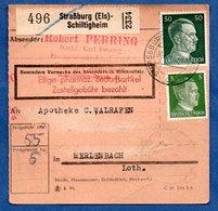 Colis Postal  -  Départ Strasburg-Schiltigheim  -  1943 - Germany