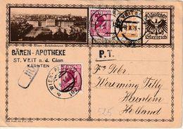 """OOSTENRIJK : BAHNPOST AMBULANT  Entier + PZ (Oost) """" ST. VEIT 1928"""" Naar HOLLAND Met """"WIEN - PASSAU / A / 102 / 8.X 28"""" - Autres"""