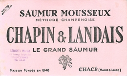 Buvard Ancien SAUMUR MOUSSEUX - METHODE CHAMPENOISE - CHAPIN ET LANDAIS - CHACE - Liqueur & Bière