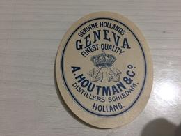 Ancienne Étiquette 1.1 BIÈRE ÉTRANGÈRE HOLLAND GENUINE HOLLANDS GENEVA A HOUTMAN DISTILLERS SGHIEDAM - Cerveza