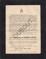 Doodsbrief Vicomtesse Juliette De BEUGHEM De HOUTEM °1834 Lippelo -†1910 Château Bois-Seigneur-Isaac (L72) - Obituary Notices