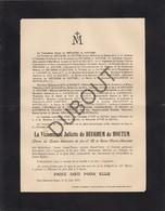 Doodsbrief Vicomtesse Juliette De BEUGHEM De HOUTEM °1834 Lippelo -†1910 Château Bois-Seigneur-Isaac (L72) - Overlijden