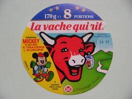 """Etiquette Fromage Fondu - Vache Qui Rit - 8 Portions Bel Pub MICKEY à """"Travers L'Europe""""   A Voir ! - Fromage"""