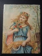 Grand CHROMO. Chicorée  WILLIOT Fils. Femme Symbole De L'été. Faucille. Blé. Coquelicot. - Old Paper