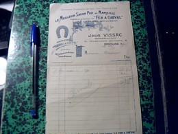 """Facture Facturette D'un Representant  Jean Vissac A Brioude Pub Savon De Marseille """" Fer A Cheval"""" Annee 1913 - Alimentaire"""