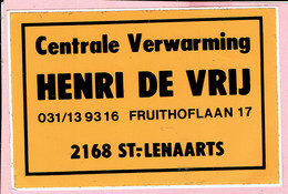 Sticker - Centrale Verwarming HENRI DE VRIJ - Fruithoflaan 17 St. Lenaarts - Autocollants