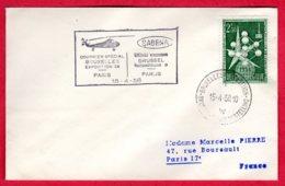 SABENA - Courrier Spécial BRUXELLES Exposition 58 - PARIS 15/04/58 - Luchtpost