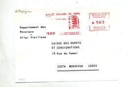 Devant De Lettre Flamme Ema Perpignan Banque Espagnole - Marcophilie (Lettres)