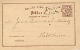 LEHRTE  - 187? , Ganzsache Nach Hildesheim - Germany