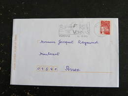 VONNAS - AIN - FLAMME ILLUSTREE SUR MARIANNE LUQUET - Marcophilie (Lettres)