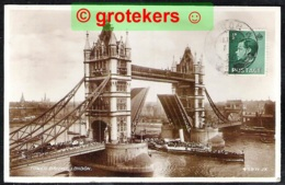 LONDON Tower Bridge With Passing Very Crowded Steamer 1936 - London