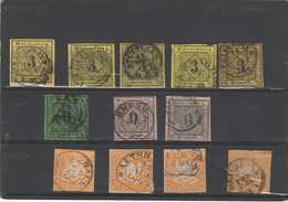Wurtemberg:plaquette  12 Timbres    Obliterations   Diverses  Periode  Kreuzer - Wuerttemberg