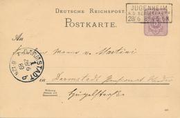JUNGENHEIM / A.D. BERGSTRASSE  - 1889 , Ganzsache Nach Darmstadt - Germany