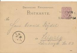 HANNOVER - MAGDEBURG  - 1885 , Ganzsache Nach Leipzig , Bahnpoststempel - Germany