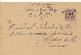 HANNOVER - COELN  - 1880 , Ganzsache Nach Mittenwald , Bahnpoststempel - Germany