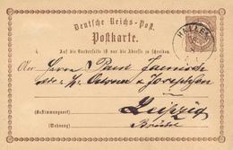 HALLE - 1873 , Ganzsache Nach Leipzig - Germany