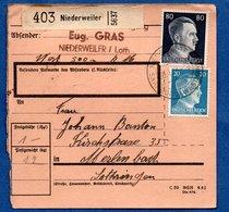 Colis Postal  -  Départ Niederweiler --  03/2/1943 - Germany