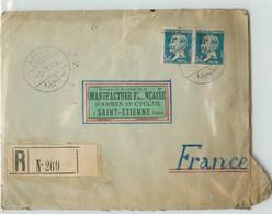 Lettre Recommandée Du GRAND-LIBAN -  Voyagée De Saida à St Etienne En 1924 - Liban