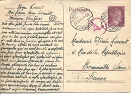 Carte De STO Firma Hans Schmidt à Hanovre Vers Romaiville Recherche Encre Sympathique - Marcophilie (Lettres)