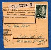 Colis Postal  -  Départ Diedenhofen-Niederjeutz  -  11/6/1943 - Allemagne