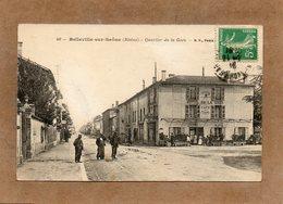 CPA - BELLEVILLE-sur-SAÔNE (69) - Aspect De L'Hôtel De La Gare Et Du Quartier De La Gare En 1916 - Belleville Sur Saone