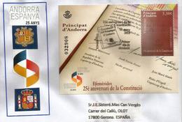 25è Aniversari De La Constituciò.25 Anys Andorra-Espanya. Signature Francois Mitterrand & Évèque D'Urgell. Haute Faciale - FDC