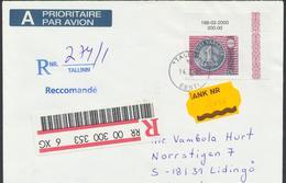 58-250 Estonia Tallinn Money Reform FDC 14.03.2000 Recommande From Post Mi 368 - Estonia