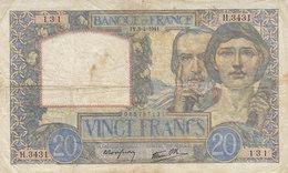 Billet 20 F Science Et Travail Du 3-4-1941 FAY 12.13 Alph. H.3431 - 1871-1952 Anciens Francs Circulés Au XXème