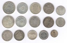 Lot 15 Monnaies Argent France Et Etranger - Monnaies